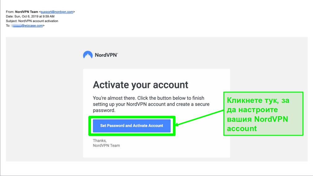 Екранна снимка на имейла за активиране на акаунта в NordVPN