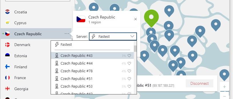 obrázek serverů NordVPN v České republice