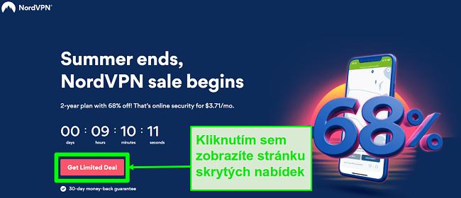 Screenshot stránky se skrytými nabídkami NordVPN