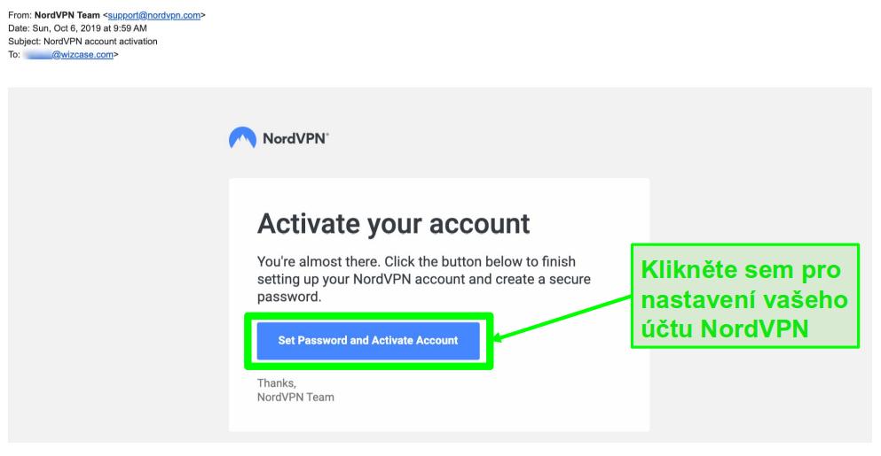 Screenshot e-mailu s aktivací účtu NordVPN