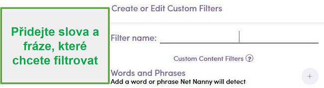 Vlastní filtr Net Nanny