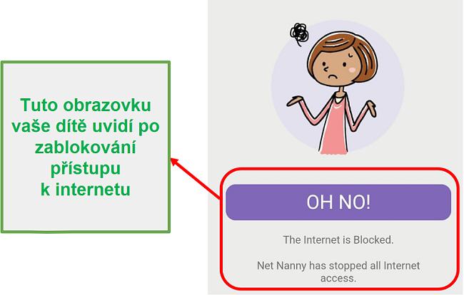 Čistá chůva blokuje internet