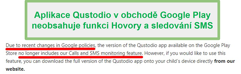 Zásady Google Play Qustodio