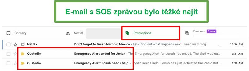 E-maily Qustodio SOS