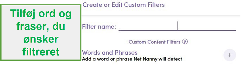 Net Nanny tilpasset filter