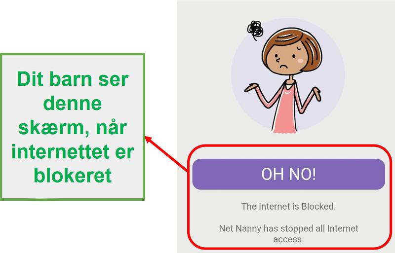 Net Nanny blokerer internettet