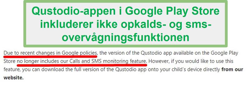 Qustodio Google Play-politik