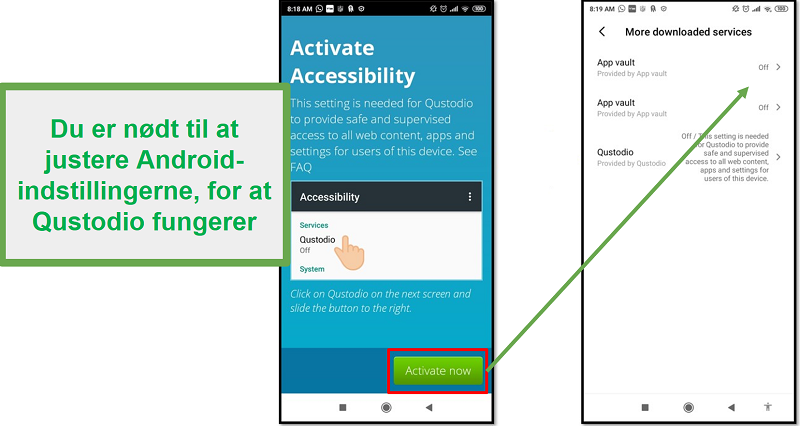 Qustodio Android-indstillinger