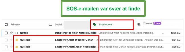 Qustodio SOS-e-mails