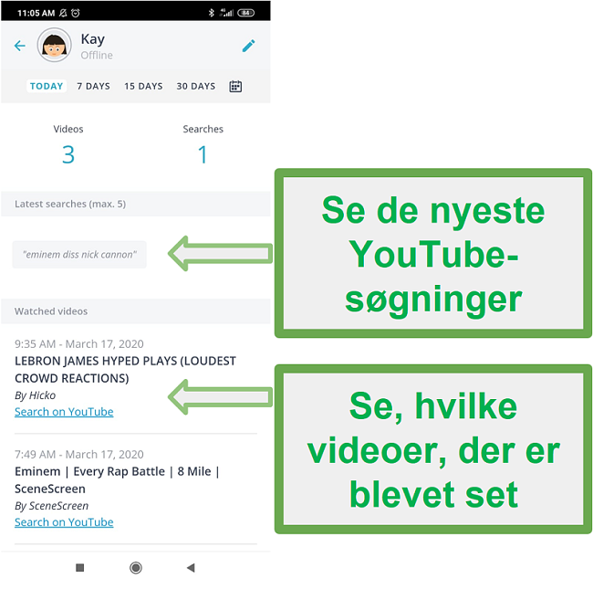 Skærmbillede af Qustodios brugergrænseflade til forældrekontrolapps, der viser overvågningsresultater fra telefonbrug