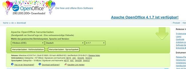 OpenOffice herunterladen - Vollständige Installation herunterladen