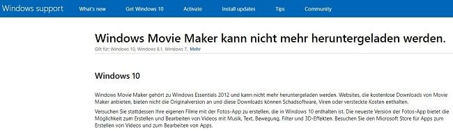 Windows Movie Maker kann nicht heruntergeladen werden