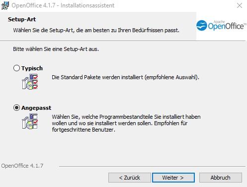 OpenOffice Benutzerdefinierte oder typische Installation