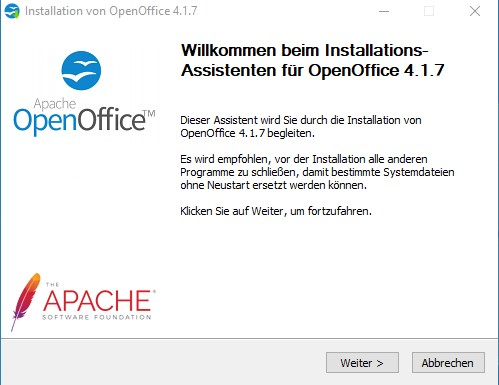 OpenOffice-Installationsassistent 1