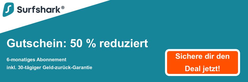 Grafik des Surfshark-Gutscheinbanners mit 50% Rabatt