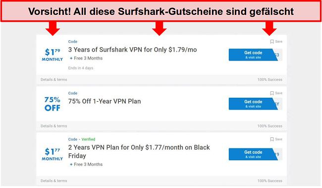 Screenshot von gefälschten Surfshark-Gutscheinen
