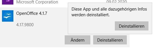 Deinstallieren Sie OpenOffice unter Windows