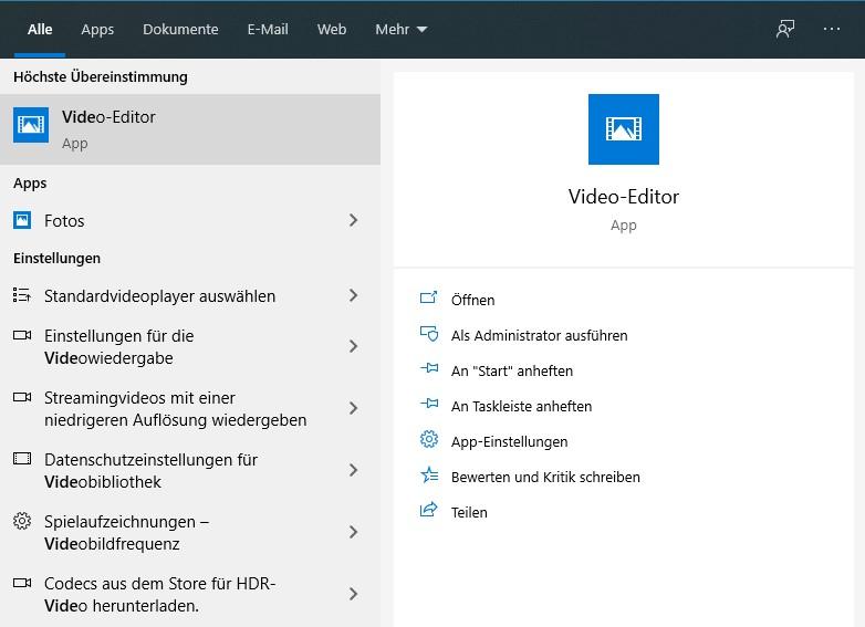 Öffnen Sie den Video-Editor