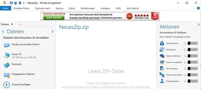 WinZip-Dateischnittstelle