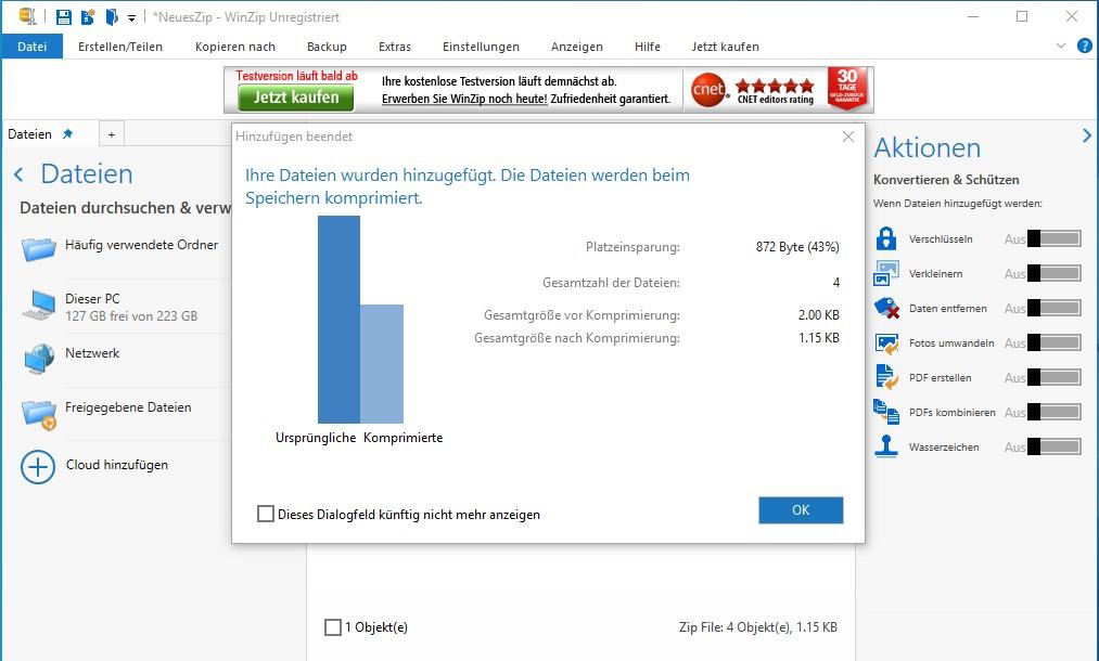 WinZip-Komprimierung von Dateien