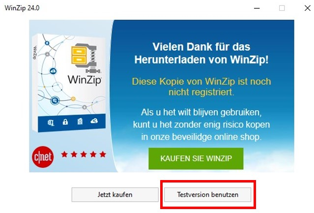 Evaluierungsversion von WinZip