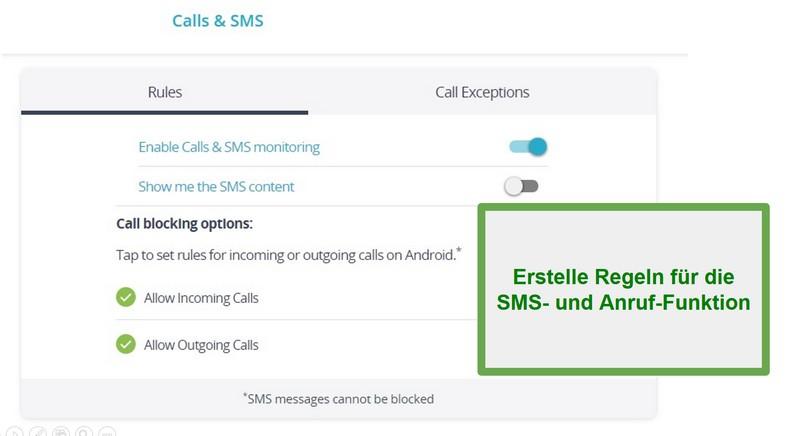 Qustodio-Anrufe und SMS-Überwachung
