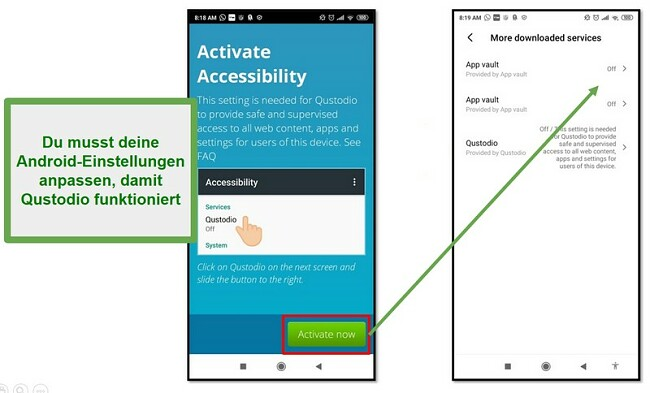 Qustodio Android-Einstellungen