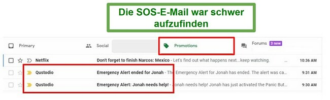 Qustodio SOS E-Mails