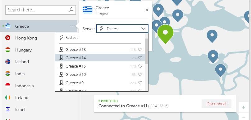 εικόνα διακομιστών NordVPN στην Ελλάδα