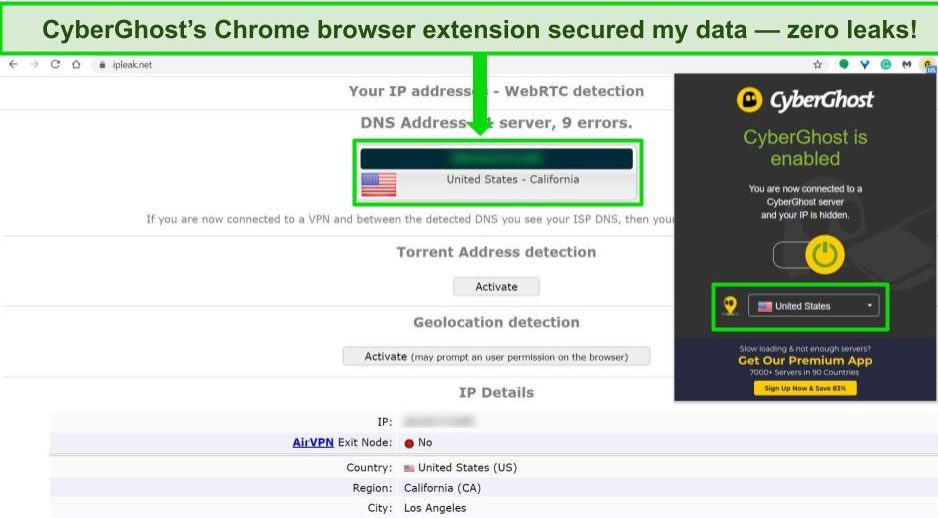 CyberGhost Alt text: Screenshot of CyberGhost's Chrome browser extension connected to a US server with the results of a leak test showing no data leaks.