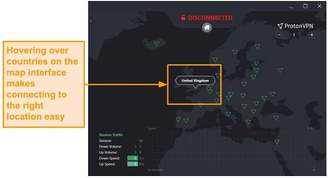 Alt text: Screenshot of ProtonVPN map interface on desktop.