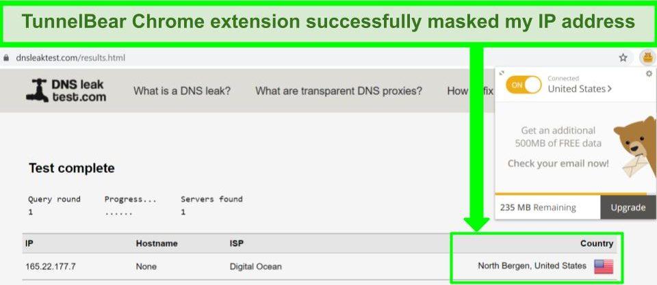 Screenshot of TunnelBear Chrome extension leak test results.