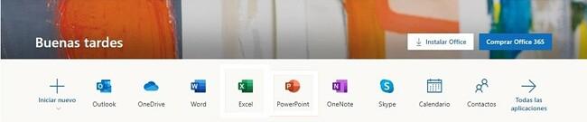 Todas las aplicaciones de Office 365