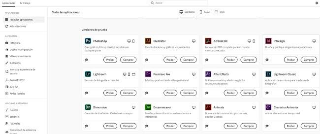 Interfaz Creative Cloud