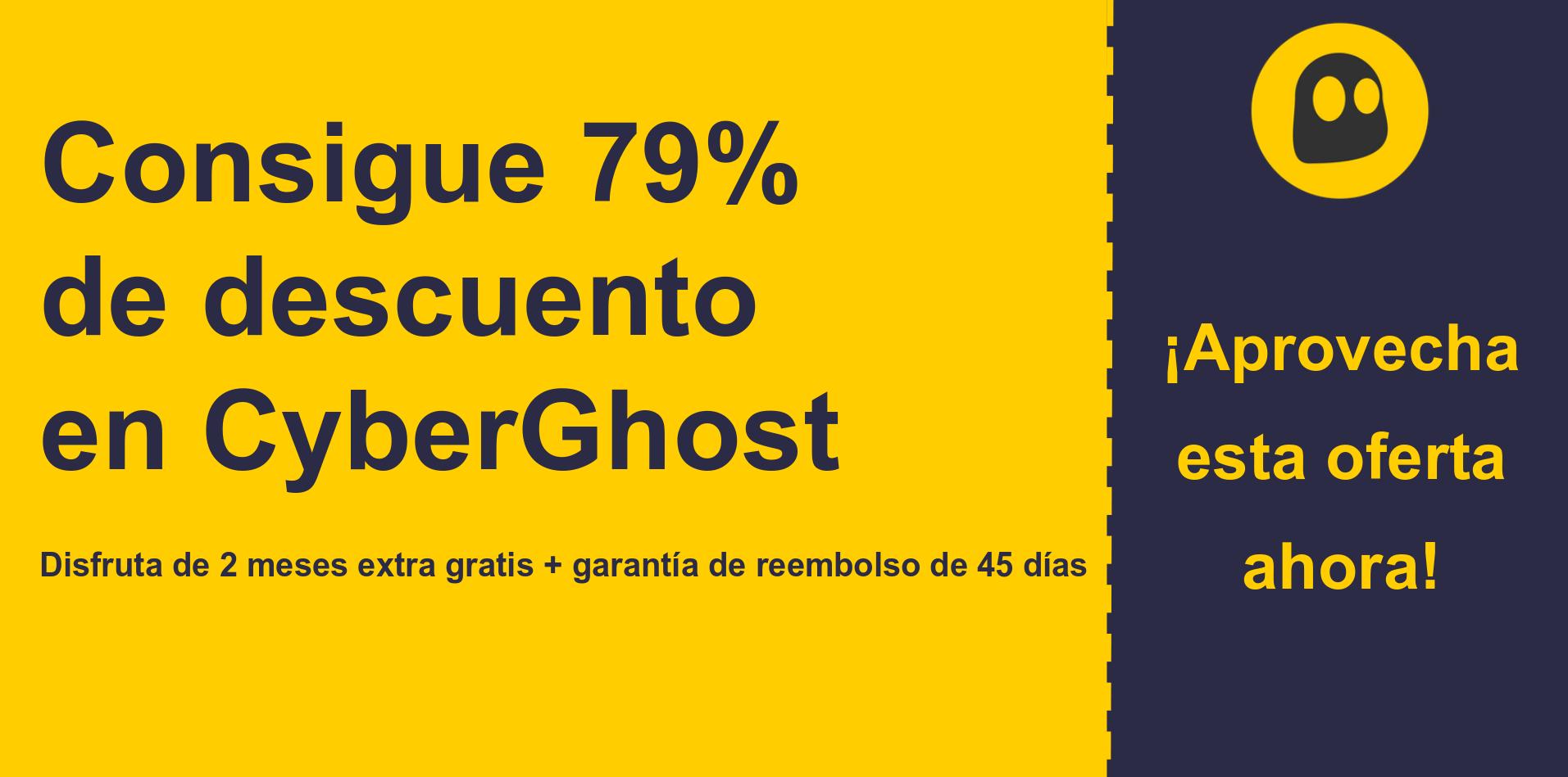 gráfico del banner del cupón principal de CyberGhostVPN que muestra un 79% de descuento