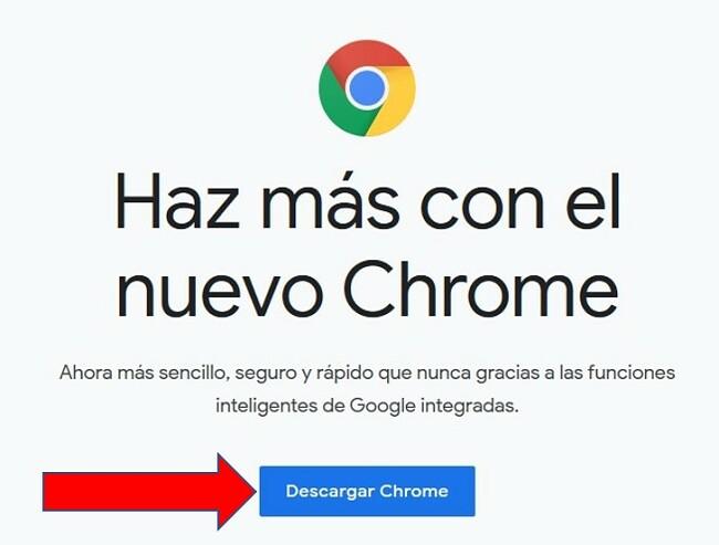 Página de descarga de Google Chrome
