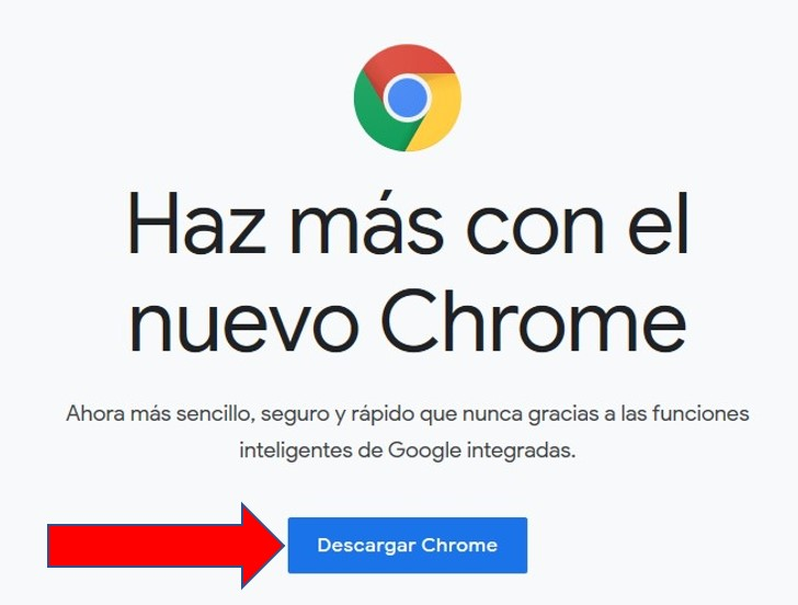 Página de descarga de Google Chrome