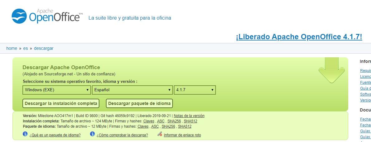 Descargar OpenOffice - Descarga de instalación completa