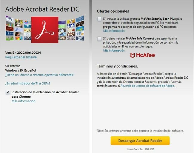 Página de descarga de Adobe Acrobat Reader DC
