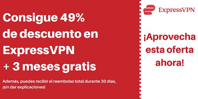 Cupón de ExpressVPN con un 49% de descuento y 3 meses gratis con una garantía de devolución de dinero de 30 días