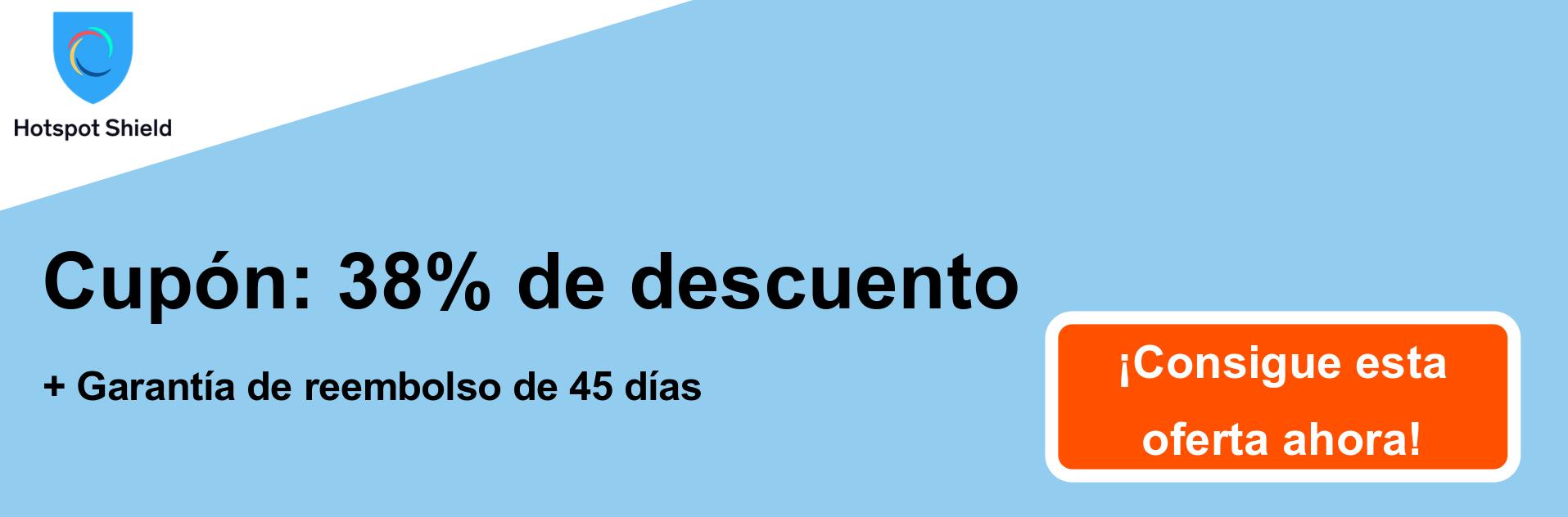 Banner de cupón HotspotShield VPN: 38% de descuento