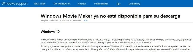 Windows Movie Maker no está disponible para descargar