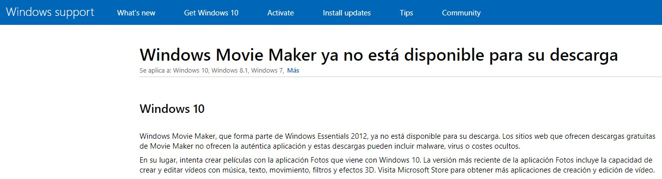 Windows Movie Maker no está disponible para descargar