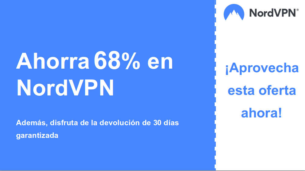 gráfico del banner del cupón principal de Nordvpn que muestra un 68% de descuento