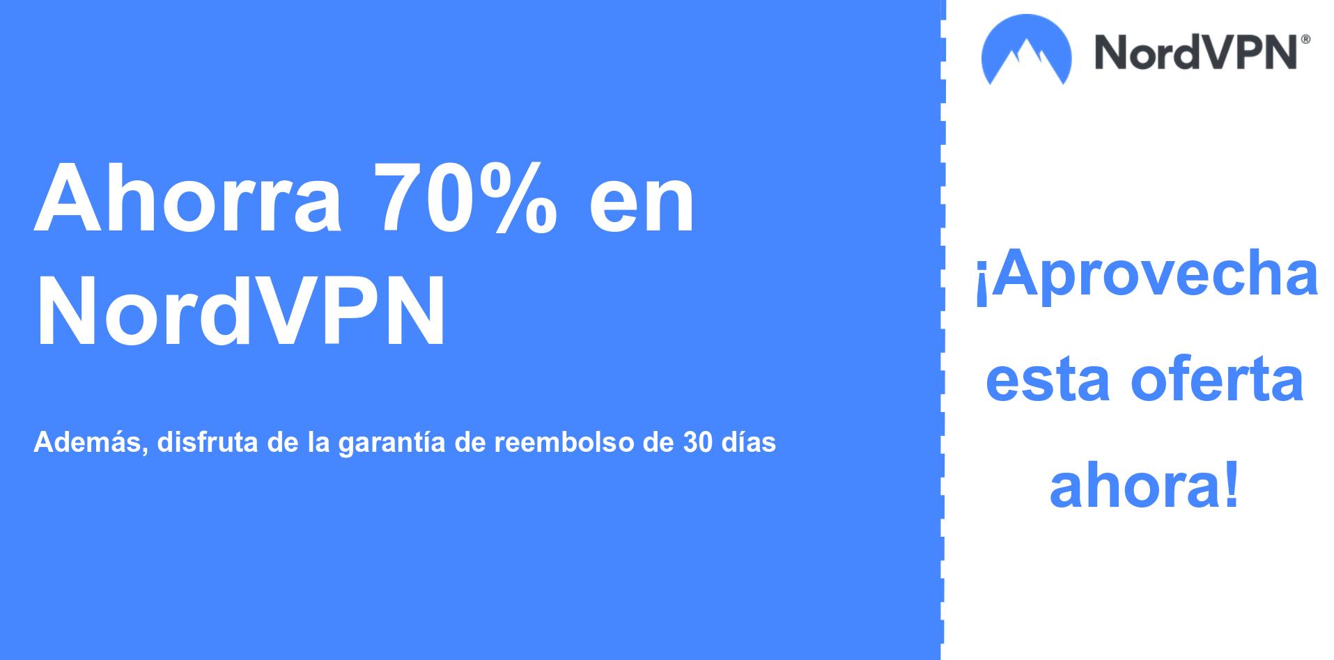 gráfico del banner del cupón principal de Nordvpn que muestra un 70% de descuento