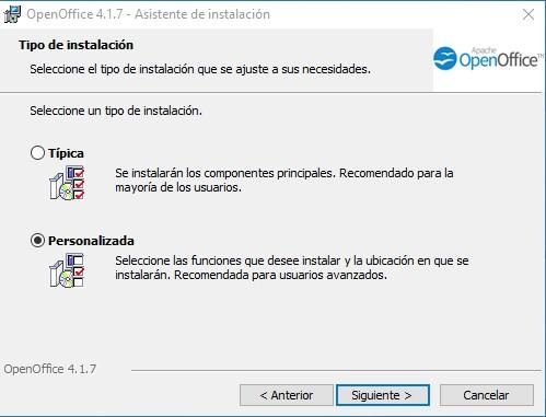 Instalación personalizada o típica de OpenOffice