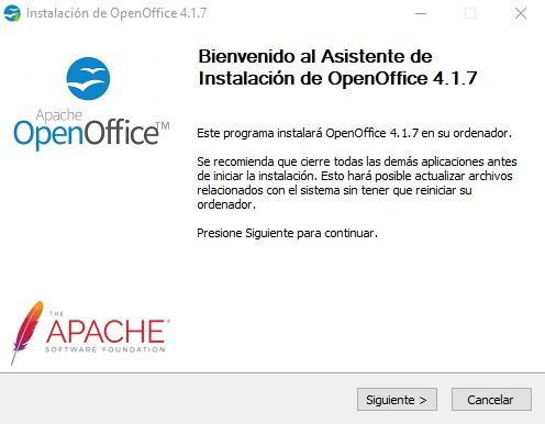Asistente de instalación de OpenOffice 1