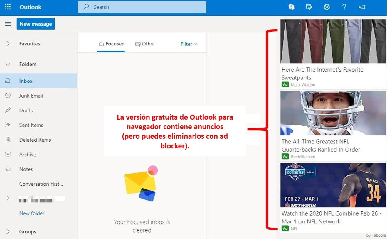 Anuncios en Outlook