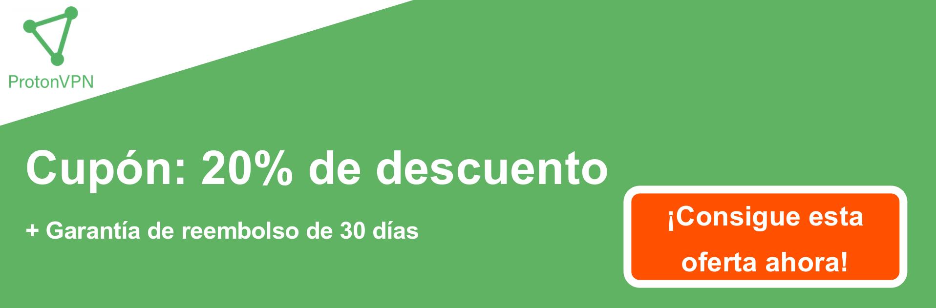 Banner de cupón ProtonVPN: 20% de descuento