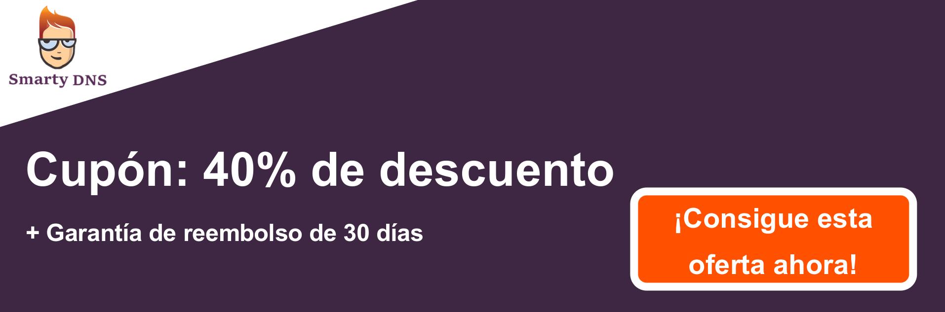 Banner de cupón SmartyDNS: 40% de descuento